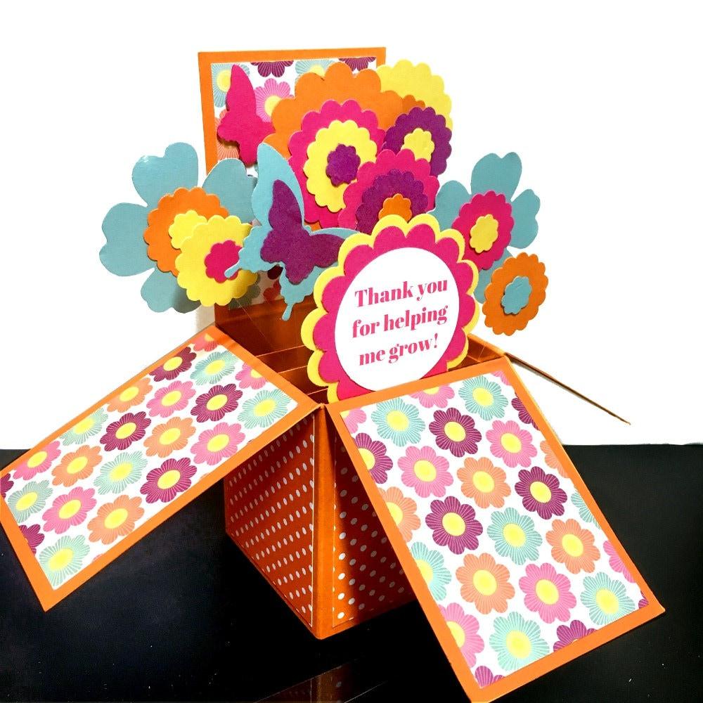 teacher thank you card 3d pop up card floral bouquet