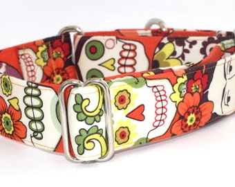 Frida Sugar Skulls Dog Collar - Martingale & Buckle 1.5 - 2 Inch Width