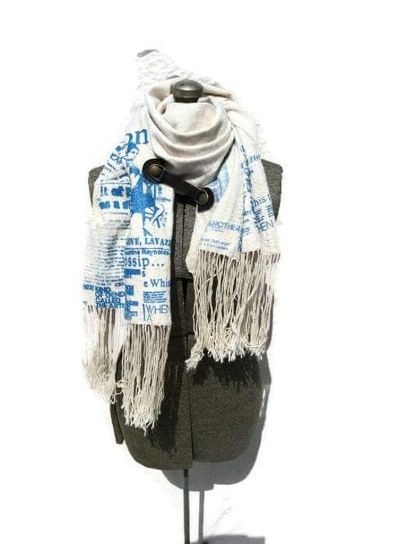 Convertible Indigo fringe scarf with leather