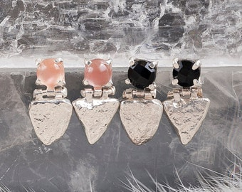 Stone Shield Studs with Sunstone | Silver Earrings with Sunstone