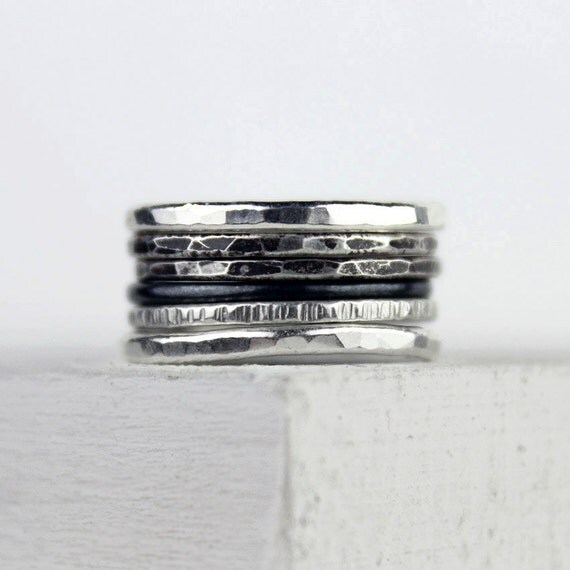 Ombre Silver Stacking Rings Hammered Silver by bespokenjewelry