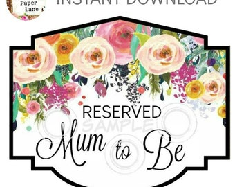 Baby Shower MUM TO BE Chair Sign Instant Download Diy Printable Chair Banner Digital Print At Home Baby Shower Decoration