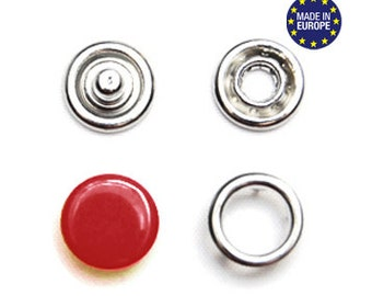 25 sets Dark Red 10.5mm Capped Snap Fasteners . european made prong snaps . refsnapdkred