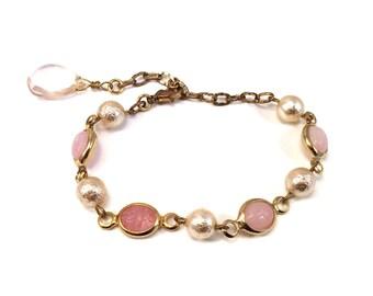 Pale pink glass scarab beetle bracelet