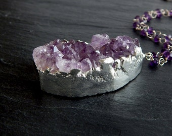 Amethyst Druzy Necklace: Sterling Silver, Amethyst - 21 inch wrapped rondelle chain, raw crystal pendant, February brithstone, purple gem