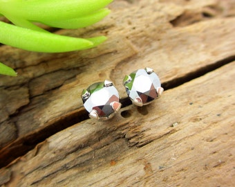 Silicon Studs - Genuine Silicon Metallic Stud Earrings, Real 14k Gold, Platinum, or Sterling Silver - 4mm, 6mm