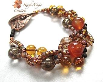 Chunky Stone Bracelet. Orange Carnelian, Amber Glass, Rustic Copper Hammered Heart Toggle. Woven Multi Strand Bracelet. Autumn Bracelet