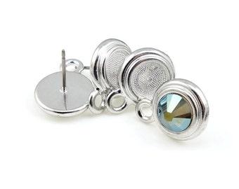 Silver Post Earrings 7mm Rhinestone Setting TierraCast Stepped Bezel Post for ss34 34ss Flatback Crystals Earring Ear Findings Birthstone