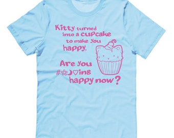 Kawaii T-shirt Aesthetic clothing - Are you Happy now? - pastel goth clothing kawaii shirt cute sarcastic t-shirt kitty cupcake colorful