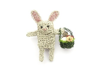Cute rabbit brooch - rabbit holding a basket of flowers, animal brooch, rabbit jewelry, cute animal pin. animal amigurumi, bunny jewelry