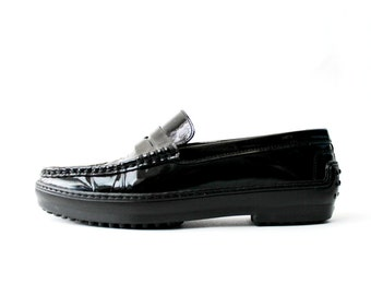 1990's TOD'S Black Patent Loafers Platforms