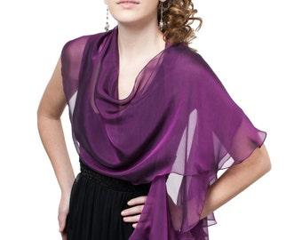 Royal purple fluttering scarf /wrap in iridescent silk chiffon