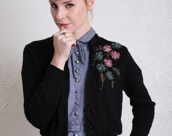 SALE- Vintage Cardigan Sweater Black