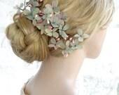 teal and pink hair clip, bridal headpiece, floral hairpiece, dried flower hair comb, wedding hair piece, teal flower for hair, hydrangeas
