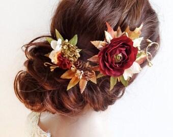 luxe fall hair accessories, fall hair clip, gold burgundy hair flower, floral hair piece, bridal headpiece, autumn wedding hair accessory
