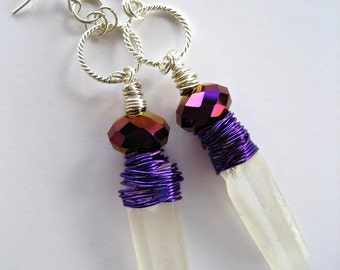 Frosted Quartz Crystal Point Earrings Silver Hoops Wire Wrapped Purple Iridescent Boho Gypsy Chic Fashion PRIESTESS by Spinning Castle