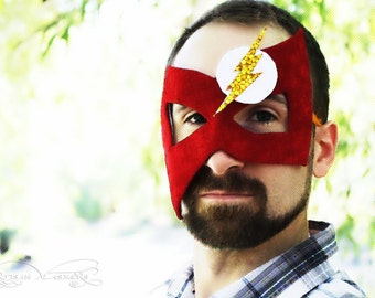 The Flash - Men's Masquerade Ball Mask Comic Book Superhero Inspired in Red and Gold