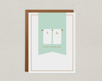 Wedding Card   Happy Marriage   Greeting Card   His and Her Towels