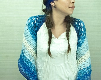 Striped Blue with White Ombre Shawl Wrap One Sleeved Sweater