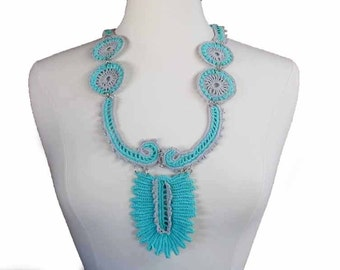 Crochet Necklace Irish Crochet Bib Necklace Statement Necklace Crochet Jewelry Southwestern Necklace Irish Lace Necklace Fiber Necklace