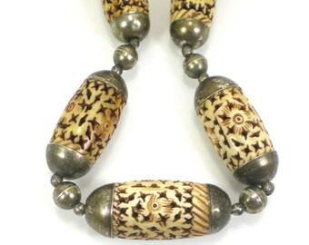 Carved Bone Necklace Vintage Tribal Boho Jewelry Flower Design