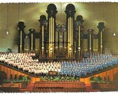 1970 - SALTLAKE CITY- Utah- Choir, Organ, Mormon Tabernacle- Real Photo Postcard- French written with stamp 13c John KENNEDY- good condition