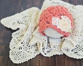 newborn baby hat //  newborn photo porp // baby photography // shabby chic // flower hat // vintage style // coral // ruffles // girl hat