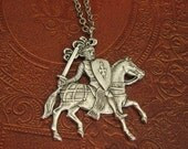 Knight Necklace Silver Sir Lancelot Knight in Shining Armor Necklace Medieval  Horse Equestrian Medieval Knight Pendant Renaissance Romantic
