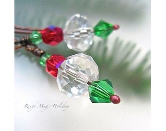 Crystal Earrings, Christmas Jewelry Red Green Holiday Earrings, Clear Crystals, Copper or Sterling Silver, Stocking Stuffer Gift for Women