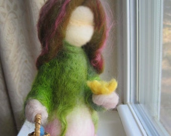 Waldorf Needle Felted OSTARA MAIDEN Easter Spring Equinox Felted Figure by Anthroposophic Fiber Artist Kelly Sundstrom