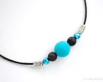 Minimalist necklace Felt and leather deep sky blue black fashion jewelry Summer fashion Pearl Bridesmaid gift Prom party choker