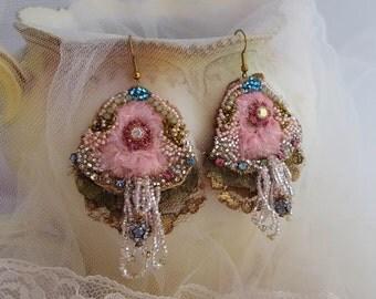 Royalty tattered earrings, bead embroidery,  Marie Antoinette lace earrings, Swarovski Bohemian earrings, hand beaded fringe textile jewelry