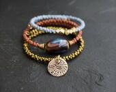 Etched Brass Charm Beaded Wrap Cuff Bracelet Set - Golden Olive, Red Sienna, Light Blue Dark Nebula Glass Boho Aria Jewelry
