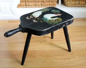 Folk Art Painted Stool, Three-legged Vintage Stool, Folk Art Chickens, Farmhouse Decor, Black Painted Stool, Country Accent Piece, Rooster