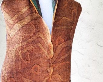 Nuno Felted Silk Merino Scarf, Large Wrap, Extra Fine Natural Merino Wool, Brown, Colorful Silk