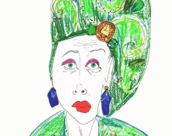 LYNN DELL COHEN Drawing Print / Portrait/ mixed media / advanced style / fashion / Woman /  sizes a4-a3