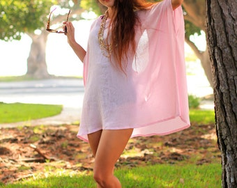 Beach Poncho Cover Up with Open Back - Caftan in Pink Cotton Gauze - 24 Colors by Mademoiselle Mermaid