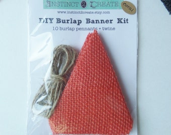 DIY Burnt Orange Burlap Banner kit, No fray, burlap banner kit, craft kit, burlap pennant, burlap craft kit