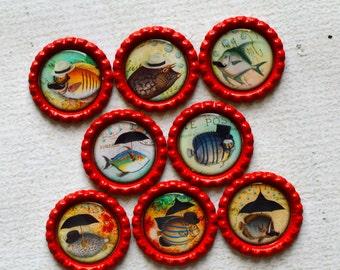 Steampunk Fish Bottlecap Magnet Set- Powerful Magnets- Mustache, Eye Glasses, Top Hat, Umbrella- Geekery Bottlecap Magnets- Man's Office