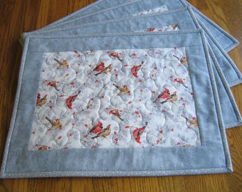 Quilted Placemats in a Cardinals on Grey with Glitter Pattern - Set of 4