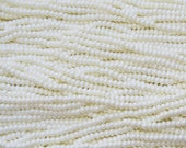 6/0 Opaque Creamy Pearl Czech Glass Seed Bead Strand (CW206)