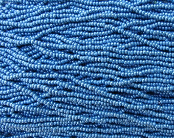 8/0 Opaque Denim Blue Luster Czech Glass Seed Bead Strand (CW87)