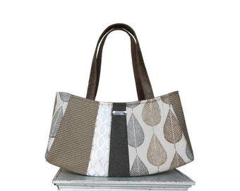 LOOSE LEAF TEA Large Satchel / autumn fall purse grey silver taupe tan leaf leaves houndstooth autumn neutral fall bag by jennjohn