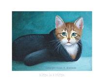 8 x 6 Kitten in a Mitten - Fine Art Print of a Blue-Eyed Tan and White Kitten Sitting in a Black Mitten