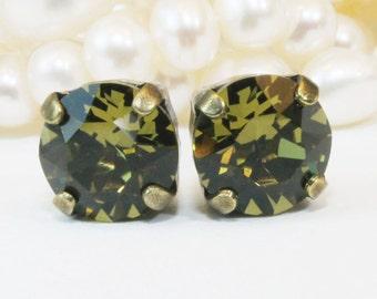 Khaki studs Olive Green Khaki Crystal Single Stone Stud Earrings Khaki Swarovski post earrings,single stone ,Swarovski,Brass,Khaki,BE1