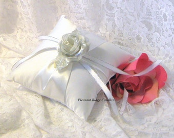 Silver Ring Bearer Pillow Romantic Wedding Pillow Ivory Ring Bearer Pillow Satin Ring Pillow Bling Ring Bearer Rose & Pillow Color Choice