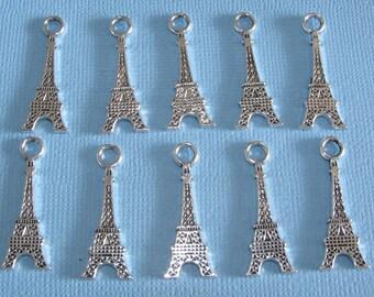 BULK 30 EIFFEL Eifel Tower Antique Silver Plated Charms (Double Sided) 12 x 32mm