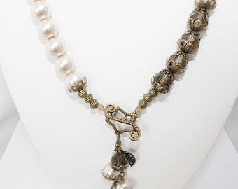 Large Beige Glass Pearls with Bronze Crystals and Antique Gold Front Closing Toggle Clasp