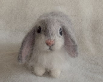 Needle Felted Lop Eared Baby Bunny Rabbit, Grey Angora, Luxury Pet