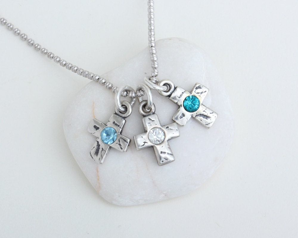 Birthstone Cross Necklace. Mother's Necklace with